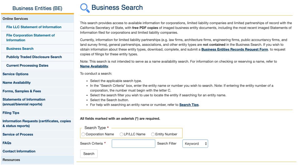 llc business search california