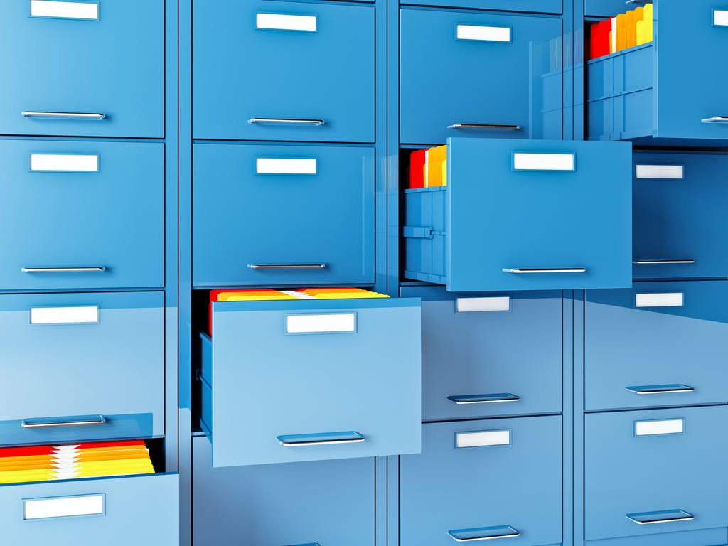 Blue filing cabinets